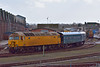 Network Rail Class 57 No.57305 shunts ADB 975875 around the yard at Eastleigh<br /> <br /> 27 February 2014