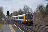 Desiro 444016 races through West Byfleet with the 09.20 from Weymouth to Waterloo  ( 1W54 )<br /> <br /> 25 February 2014
