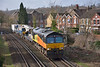 66847 nears Egham with 6Y41 engineers service from  Eastleigh  to Hoo Junction Up Yard.<br /> <br /> 26 February 2014