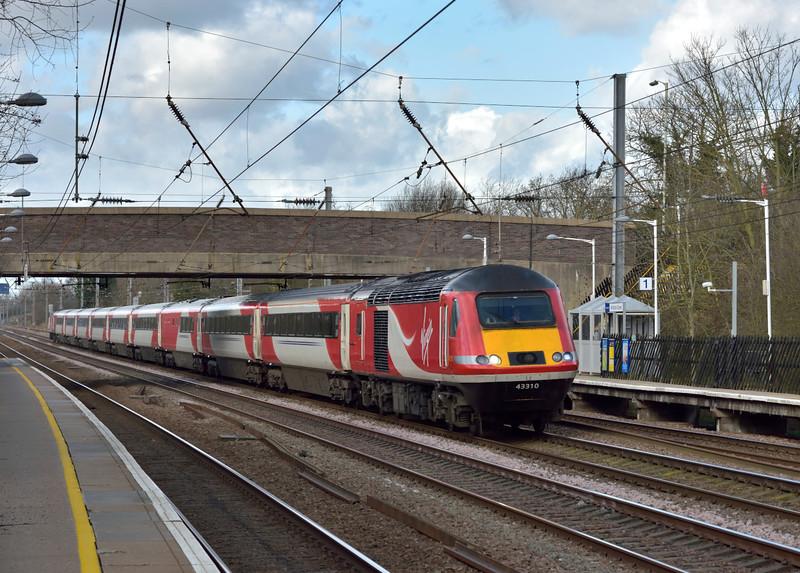 Class 43 HST power car No.43310 speeds through Welham Green leading 1E07 08.30 service from Edinburgh to London Kings Cross<br /> <br /> 2 February 2016