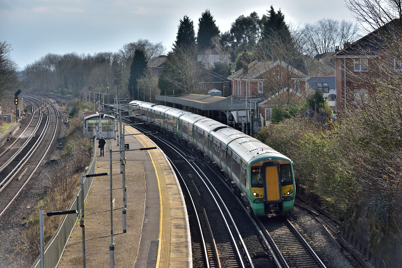 Electrostar 377119 restarts from Earlswood with 2C80  the13.30 service from  Horsham to London Bridge<br /> <br /> 24 February 2016