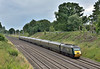 Taking advantage of a cloudy sky to take this shot to the east as the second GWR green HST set speeds through Sonning led by power car 43188 /43187 at the rear, forming 1C82 12.05 service to Penzance<br /> <br /> 13 July 2016