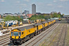 Network Rail Loram C2103 Rail Grinder stabled between duties in the yard at Woking<br /> <br /> 19 April 2017