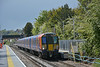 Desiro 458524 departs from Egham working 2S42 14.03 service from Weybridge to London Waterloo.<br /> Work is continuing at the station but the newly extended platforms are now in use.<br /> <br /> 26 April 2017