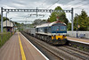 Mendip Rail 59102 'Village of Chantry'  shatters the peace at Pangbourne as it thunders through at the head of 6C54 working empty hoppers from Oxford Banbury Road Sidings to Whatley Quarry<br /> <br /> 27 April 2017