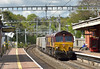 DB stickered Class 66 No.66109 thunders into Pangbourne at the head of 6C54 returning stone boxes from Oxford Banbury Road Sidings to Whatley Quarry<br /> <br /> 25 April 2017