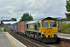 66547 enters Basingstoke with 4M61 freightliner service from  Southampton Maritime. to Trafford Park Freightliner terminal.<br /> <br /> 24 August 2017