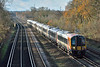 Class 444 Desiro 444021  races past Weybridge forming 1W08 the 09.03 service from Weymouth to London Waterloo<br /> <br /> 8 December 2017