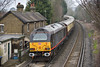 67006 ' Royal Sovereign' brings up the rear of 1Z91 The Belmond British Pullman as it passes Pooley Green  with  09.43 from London Victoria to Bath Spa.  Powering away up front is 67005 'Queen's Messenger'  <br /> <br /> 18 February 2017