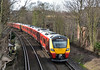 Another outing for the new SWT 707 duo 707003/005 as they return from Reading as 5Q34  to Staines Up Loop.<br /> Seen here passing Pooley Green.<br /> <br /> 20 February 2017