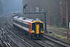 159014 exits St Johns Cutting on its appraoch to Woking with1L34 /10.47  service from Salisbury to London Waterloo<br /> <br /> 25 January 2017