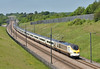Eurostar Class 373 unit No.3209 crosses Lenham Heath with train 9I32 12.58 service from  St Pancras International to Bruxelles Midi<br /> <br /> 25 May 2017