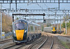 IEP units 800013+800015 race towards the capital with 1P25 09.54 from Great Malvern to London Paddington passing 387173 approaching Burnham working 2P38 11.48 service from  Reading<br /> <br /> 25 January 2018