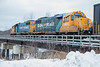 GP38-2s 1801 and 1800 at the head of the Polar Bear Express on Store Creek bridge in Moosonee.