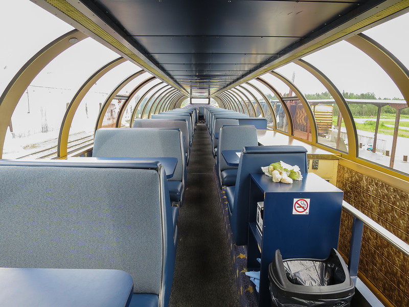 Upper level, dome car Otter Rapids 900 in Moosonee.