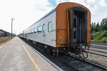 Pollar Bear Express along station platform in Moosonee. View from rear. Coach 850.