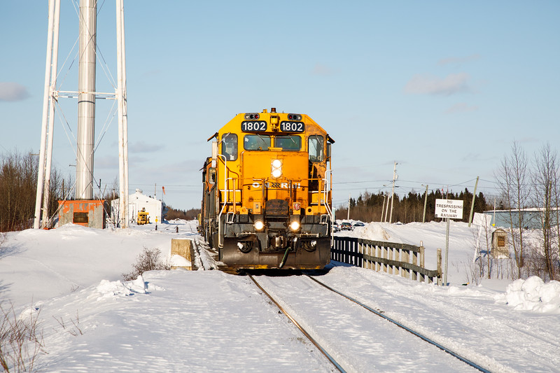 GP38-2 1802 at the head of the Polar Bear Express. Second unit 1806.