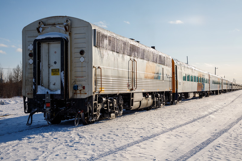 Polar Bear Express passenger consist from rear.