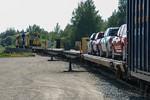 Polar Bear Exprss ready to head south from Moosonee. Only four cars on flatcars. GP38-2 1809.