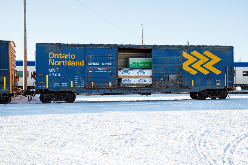 Boxcar ONT 2704 in Moosonee with door open.