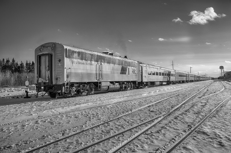 Long Polar Bear Express train in Moosonee. HDR efx bright exposure minus 20. Black and white via yellow filter.