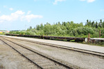 Flatcars for vehicles ready to be loaded for tomorrow's Polar Bear Express.