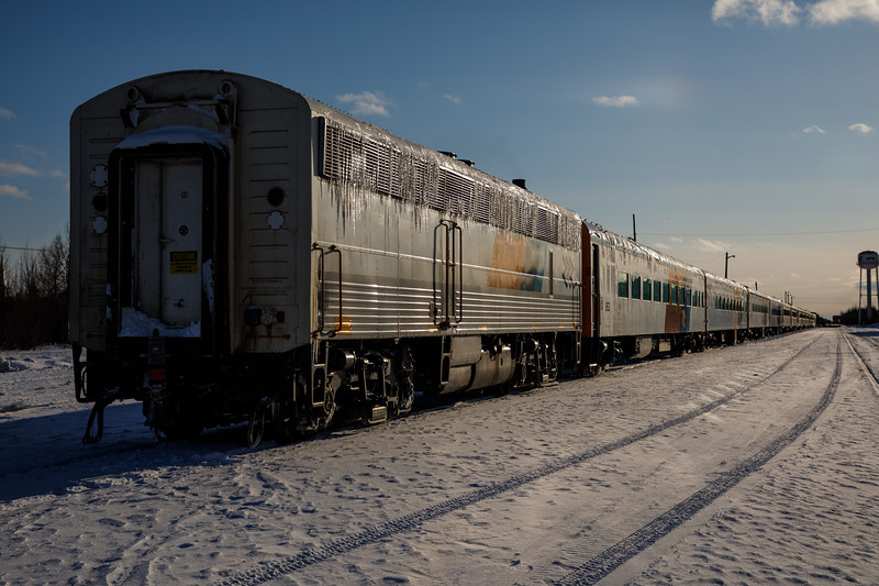 Long Polar Bear Express train in Moosonee. Dark exposure.