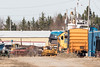 GP38-2 locomotives 1809 and 1801 switching at the end of Revillon Road in Moosonee.