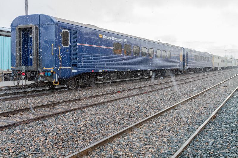 Passenger consist of the Polar Bear Express in Moosonee during light snowfall. 2018 October 25.