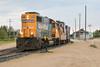 GP38-2 1808 with ballast / rock train in Moosonee.
