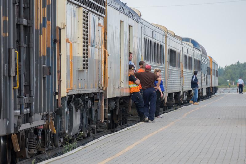 Passenger consist of the Polar Bear Express in Moosonee.