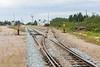 New ballast along tracks in Moosonee. Polar Bear Express in the distance.