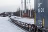 Ontario Northland Railway freight train 419 arriving in Moosonee behind GP38-2 1801 and GP40-2 2200.