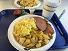 Hot breakfast on the train.
