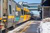 VIA train 45 comes through Belleville train station led by VIA F40PH-2 locomotive 6441