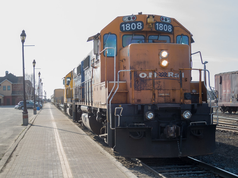 GP38-2 1809 and 1808 at the head of the Polar Bear Express in Cochrane