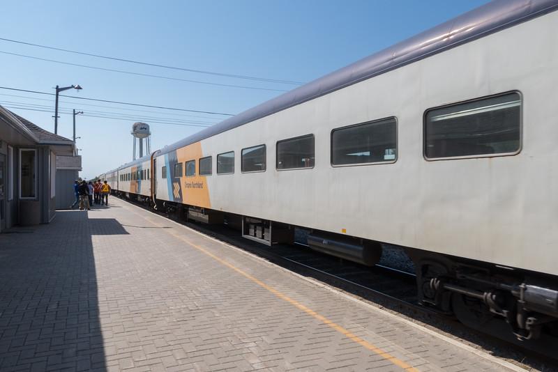 Polar Bear Express comes along station platform in Moosonee.