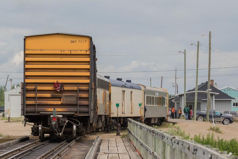 Polar Bear Express heads into Moosonee Station behind GP38-2s 1804 and 1802.