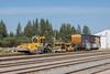 Maintenance of way equipment and boxcar in Moosonee.