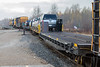 Locomotives and flatcars for vehicles at the head of the Polar Bear Express 2018 October 25.