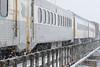 The Polar Bear Express mixed train crossing Store Creek on its way into Moosonee. Coach 601.