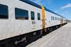 polar Bear Express along station platform in Moosonee. Coach 850 and 857.
