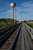 Moosonee water tower from opposite end of railway bridge.