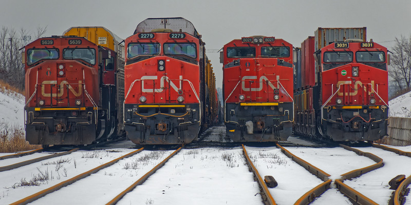 CNR locomotives and freight trains facing east just west of Elmwood Drive 2020 February 11. 5636, 2279, 8021, 3031