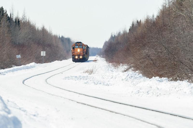 Polar Bear Express approaching Moosonee.