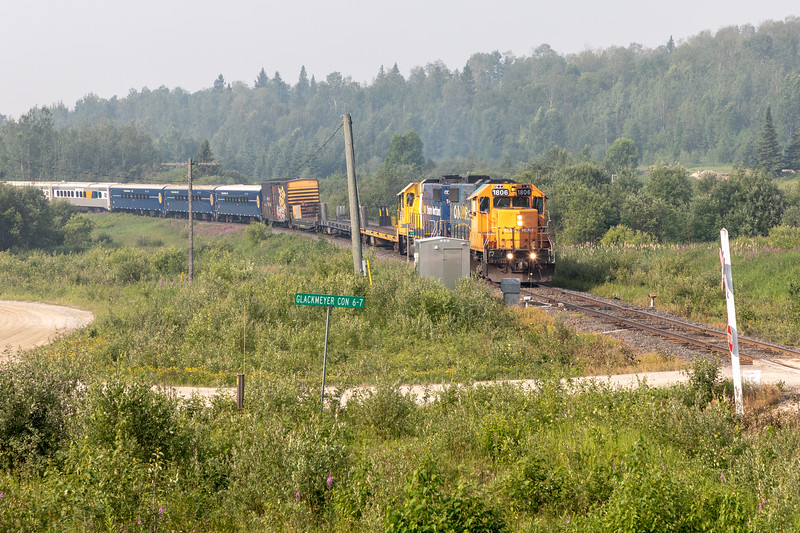 Northbound Polar Bear Express approaching mileage 5 2018 July 12.