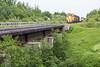 GP38-2s 1809 and 1808 bring freight 419 towards Moosonee.