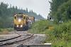 GP38-2 1809 and 1805 lead the Polar Bear Express train into Moosonee 2018 August 19.