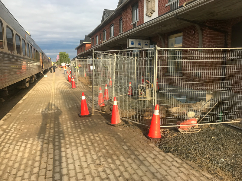 Polar Bear Express in Cochrane with foundation work going on at station. 2018 September 27.