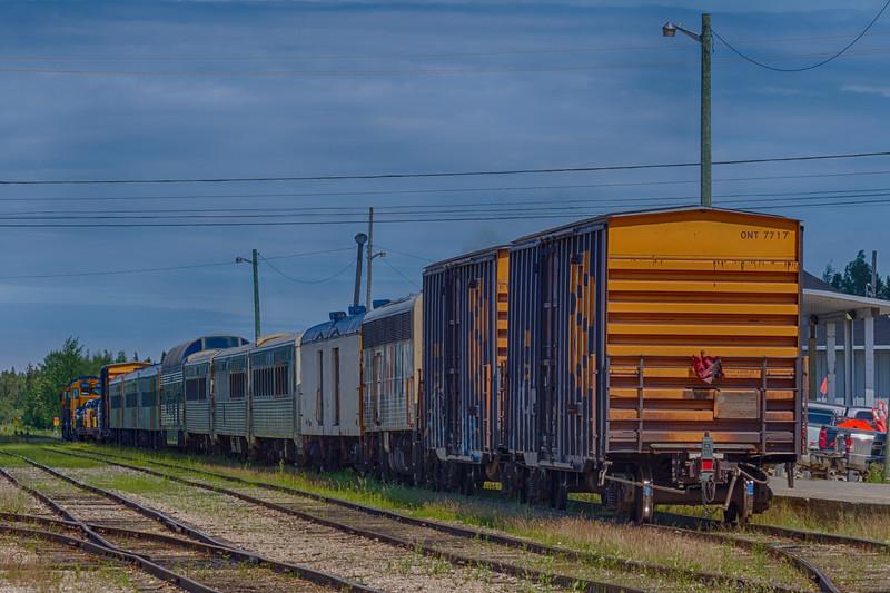 Polar Bear Express in Moosonee station behind GP38-s2 1802 and 1800. HDR efx balanced.
